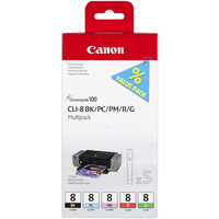 Canon CLI-8 Ink Cartridges Multi-Pack Bk /PC/PM/Rd/Gn 0620B027-0