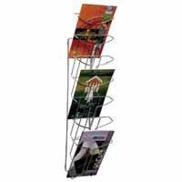 Alba Wall Mounted 7-Tier 7-Pocket Literature Holder A4 Chrome DD7M-0