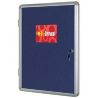Bi-Office Lockable Internal Notice Board 900x600mm Blue Fabric Aluminium Frame-0