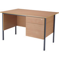 Jemini 1200mm 4 Leg Desk 2-Drawer Pedestal Beech KF838371-0