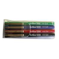 Artline 200 Fineliner Assorted Pack of 4 EK200-0