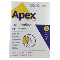 Fellowes Apex Laminating Pouch A3 Light Duty Clear Pk 100 6001901-0