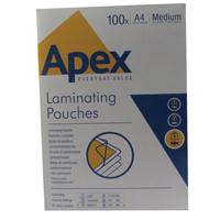 Fellowes Apex Laminating Pouch A4 Medium Duty Clear Pk 100 6003501-0