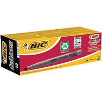 Bic Pocket Permanent Marker Bullet Tip Black Pack of 12 8209021-0