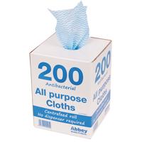 Antibacterial Cloths on a Roll 220 x 370mm Blue Box of 200 CCIAB201A-0