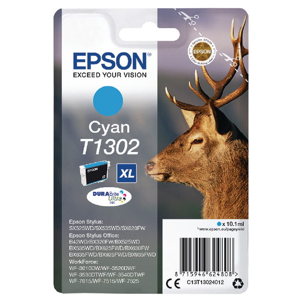 Epson T1302 XHY Cyan Ink Cartridge C13T13024012-0
