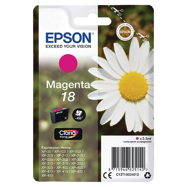 Epson 18 Magenta Ink Cartridge C13T18034012-0