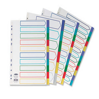 Concord A4 PVC 5-PART punched DIVIDERS