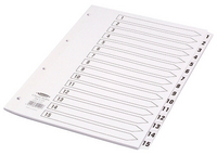Concord Classic Index 1-15 A4 White Board with Clear Mylar Tabs 01401 CS14