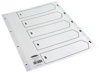 Concord Classic Index 1-5 A4 White Board with Clear Mylar Tabs 00501 CS5