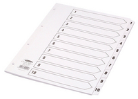 Concord Classic Index 1-10 A4 White Board with Clear Mylar Tabs 00901 CS9
