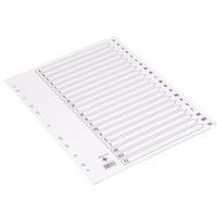 Q-Connect Index A4 Multi-Punched A-Z 20-Part Reinforced White Board Clear Tabbed KF01532