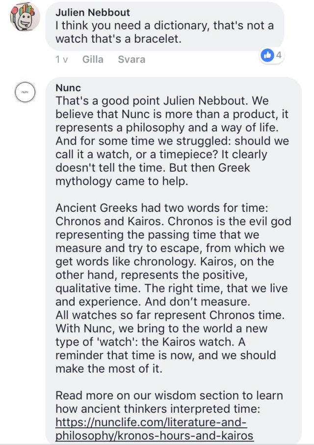 A screenshot of someone messaging Nunc's marketing team saying 'I think you need a dictionary that's not a watch it's a bracelet' and Nunc responded with a novel length message about how it's more than a watch it's a lifestyle and a philosophy blah blah blah