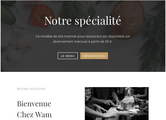 Restaurant modèle site web
