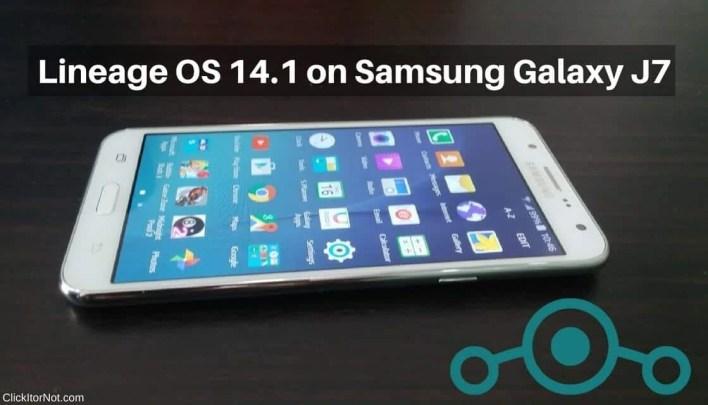 Lineage OS 14.1 on Samsung Galaxy J7