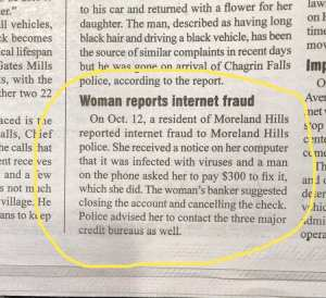 Chagrin Falls Times Recent Newspaper Clipping