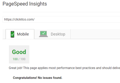 Google Page Insights - Clickitco
