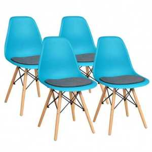 4Pcs Blue Dining Chair