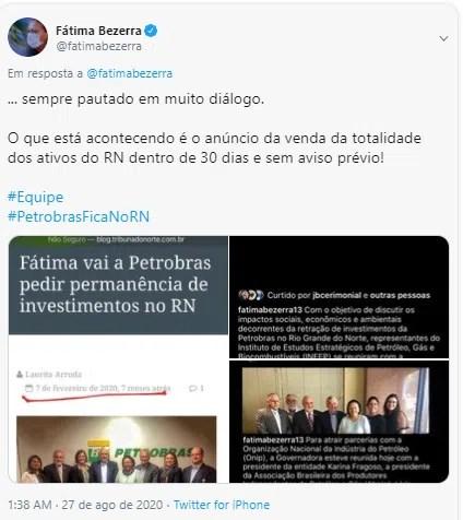 Petrobras Petróleo RN  Fátima Bezerra Twitter
