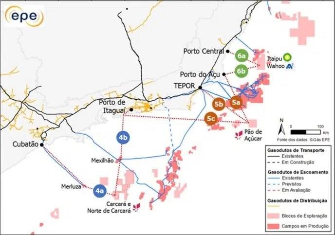 Mapa de escoamento do gás natuRal offshore pela EPE
