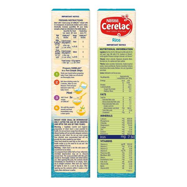 Nestle Cerelac Fortified Baby Cereal With Milk, Rice - From 6 Months, 300 g - ClickUrKart