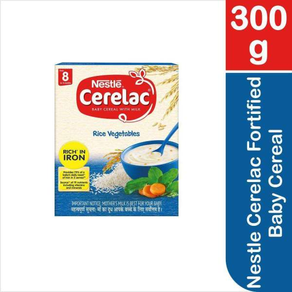 Nestle Cerelac Fortified Baby Cereal - With Milk, Rice & Vegetables, From 8 Months, 300 g - ClickUrKart