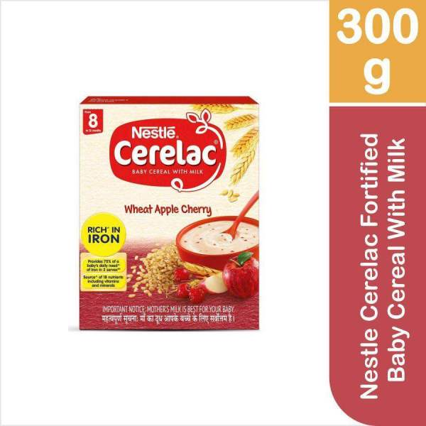 Nestle Cerelac Fortified Baby Cereal With Milk, Wheat Apple Cherry - From 8 Months, 300 g - ClickUrKart