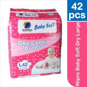 Wipro Baby Soft Dry Large (8-14 kg) - 42 Diapers - ClickUrKart