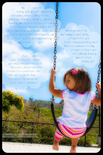 Connie Hanks Photography // ClickyChickCreates.com // Love letter to my 2-year old baby girl swinging on a puffy cloud, blue skies day.