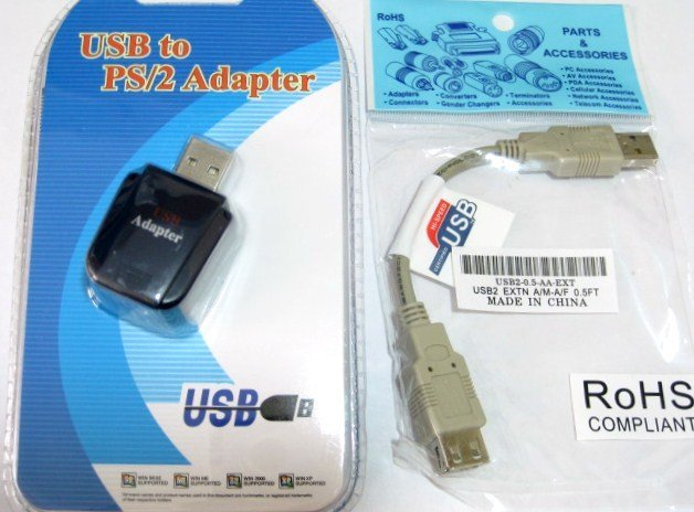 ps/2 to USB adapter converter for keyboards + short USB cable ...