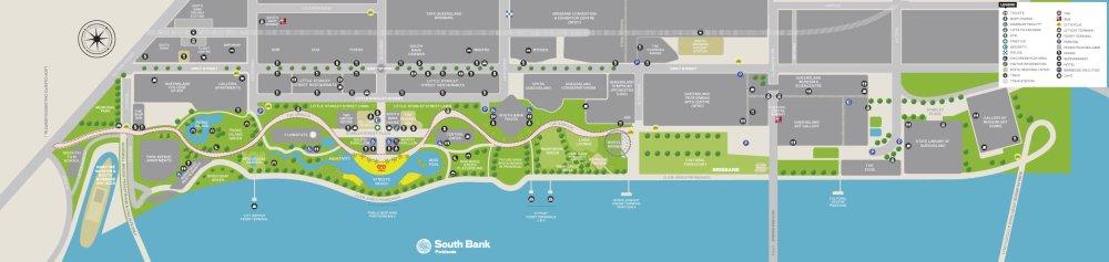 Mappa di South Bank Brisbane