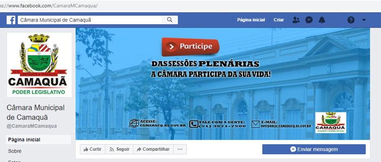 Sessões da Câmara de Camaquã serão transmitidas pelo Facebook