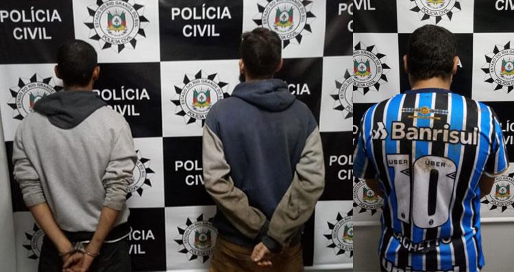 Três homens presos por roubo a pedestre, em Camaquã