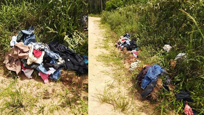 Roupas usada encontradas à beira da estrada