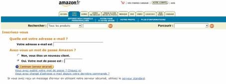 Sur Amazon, il faut cliquer sur plusieurs pages avant d'arriver  a l'identification