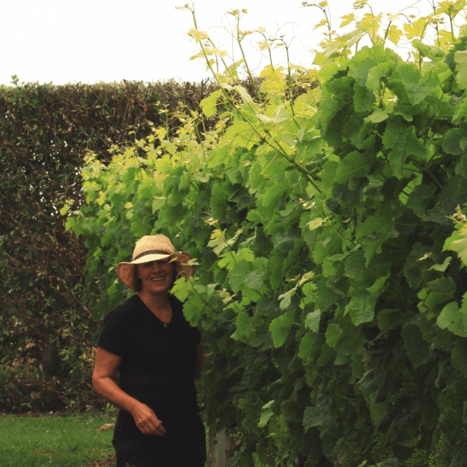 Vicki in the Cliff Edge Vineyard