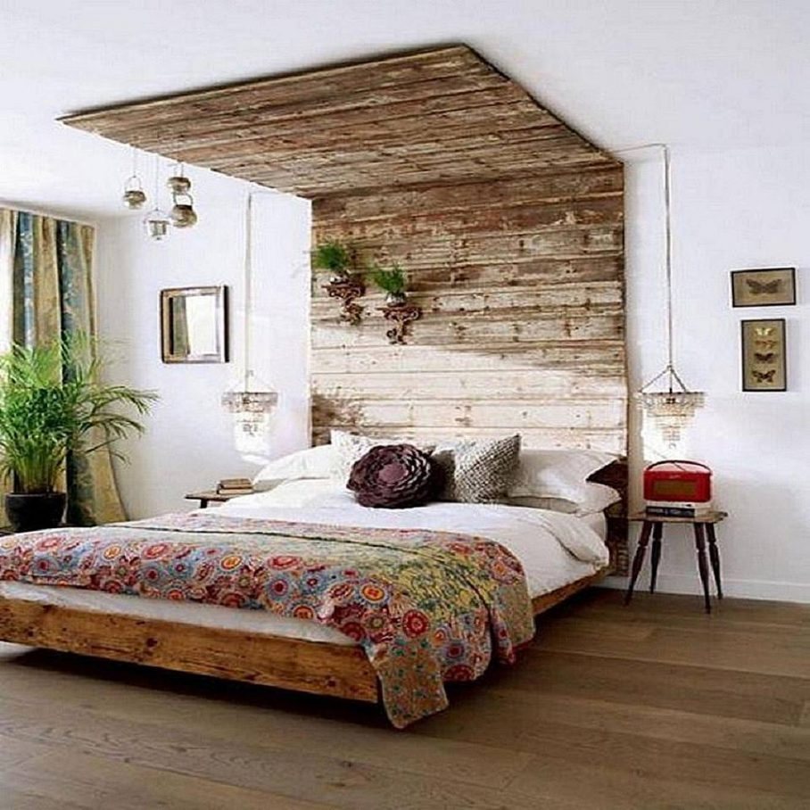 diy cheap rustic double bed wall decor