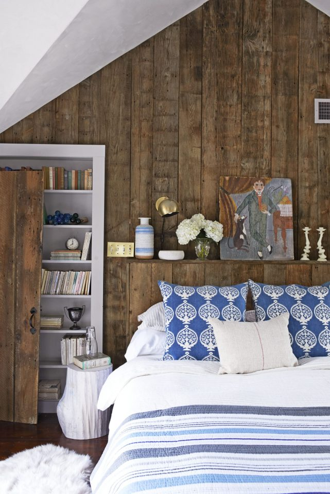 master bedroom wood walls