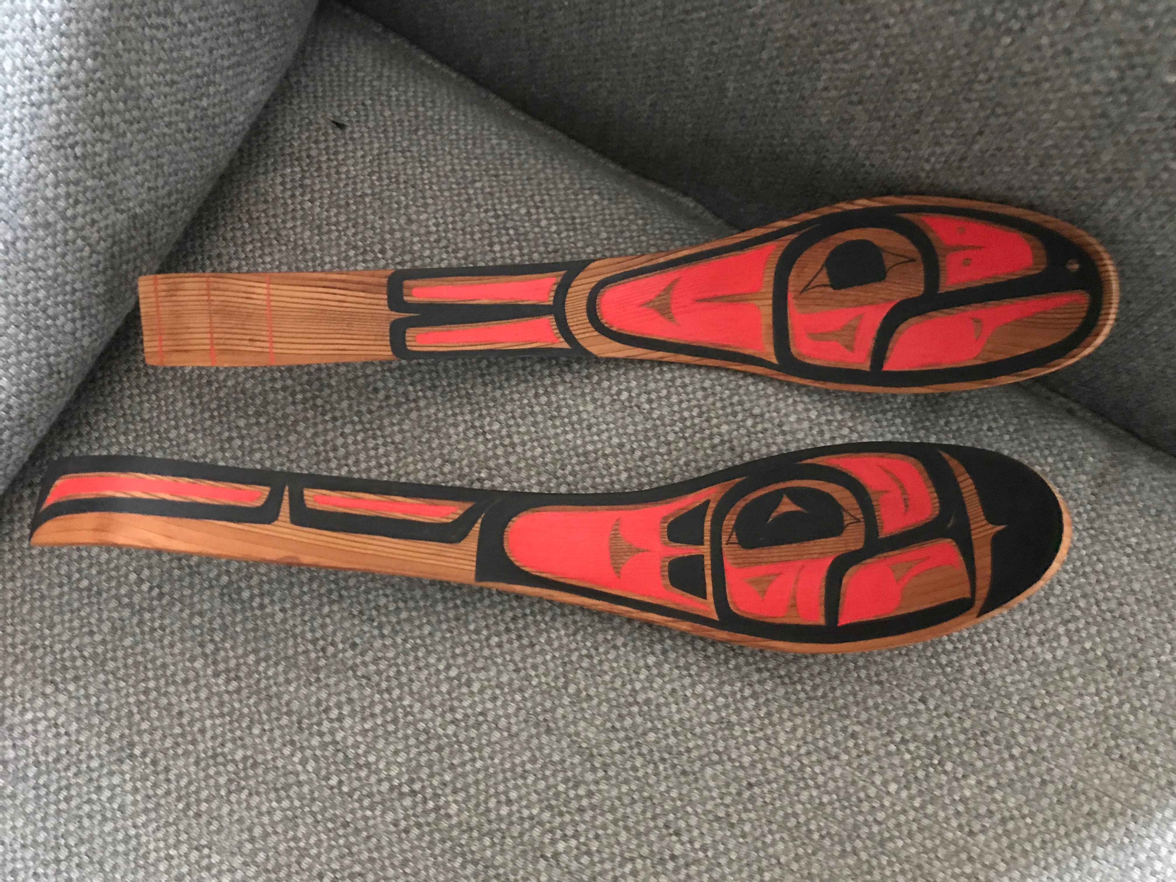 Two painted spoons, possibly by the renowned Kwakwaka'wakw carver Mungo Martin