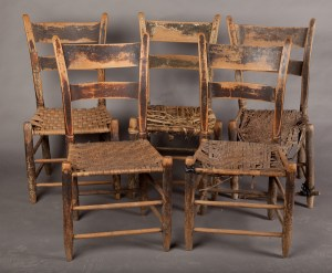 This set of chairs is attributed to John Rogers who made chairs within the decade of the 1820s at Ruddles Mill in Bourbon County, Kentucky.