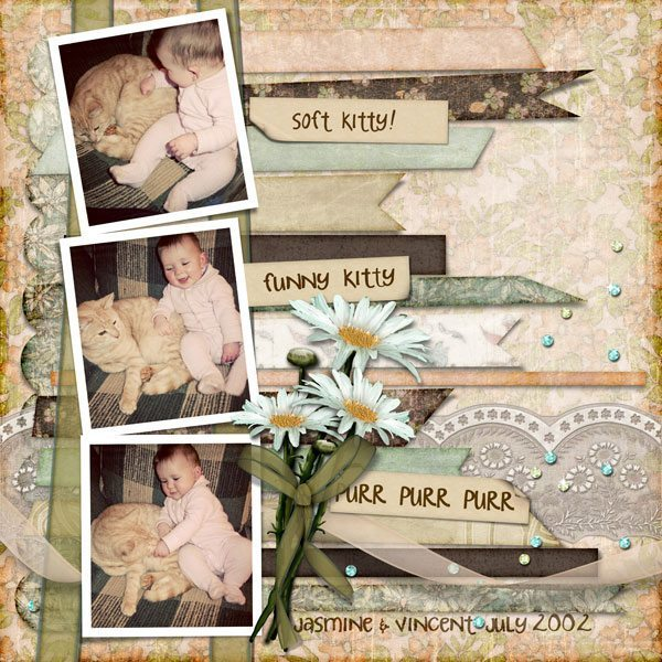 Paper Ribbons Layered Digital Scrapbook Template