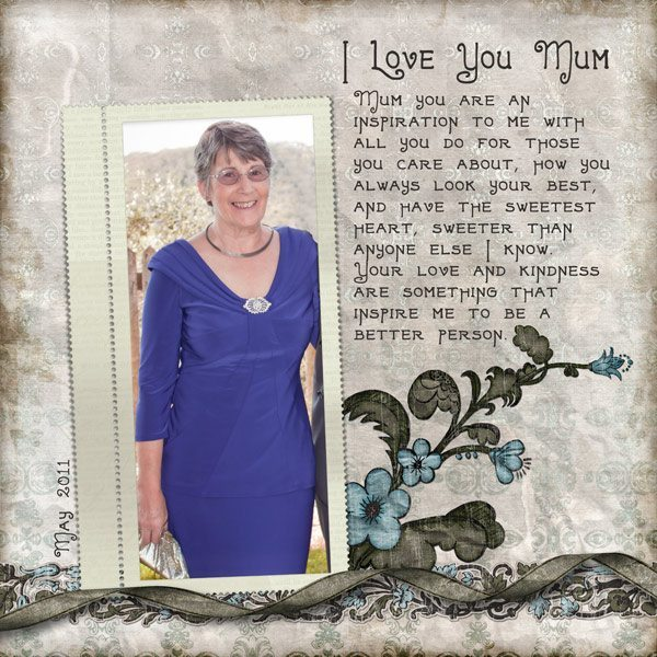 I Love You Mum Digital Scrapbook Layout