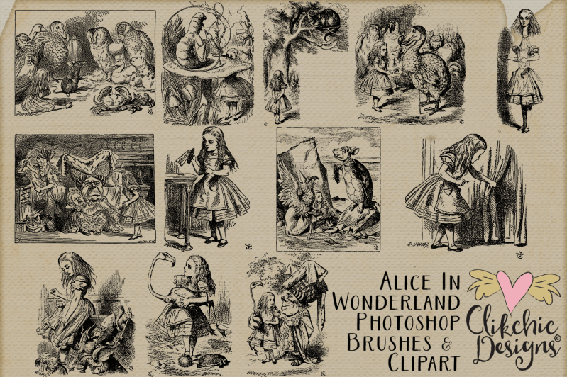 Alice In Wonderland Clipart, Vectors & Photoshop Brushes
