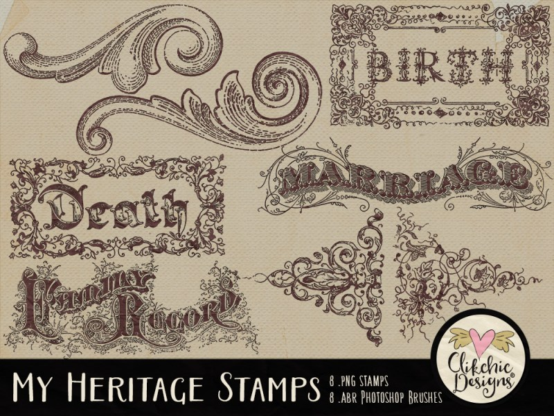 My Heritage Digital Stamps and Photoshop Brushes