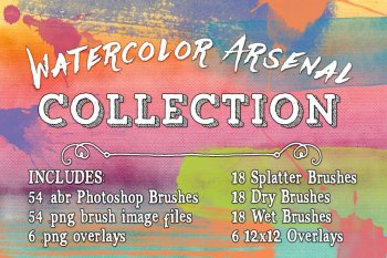 Watercolor Arsenal Photoshop Brushes & Overlays Collection