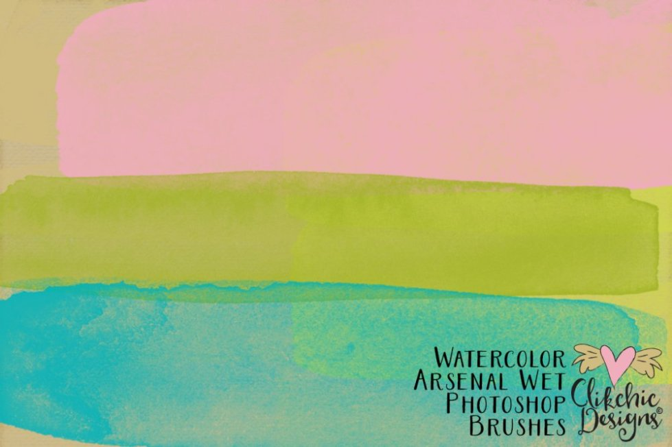 Watercolor Arsenal Wet Photoshop Brushes | Clikchic Designs