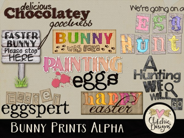 Bunny Prints Digital Scrapbook Word Art