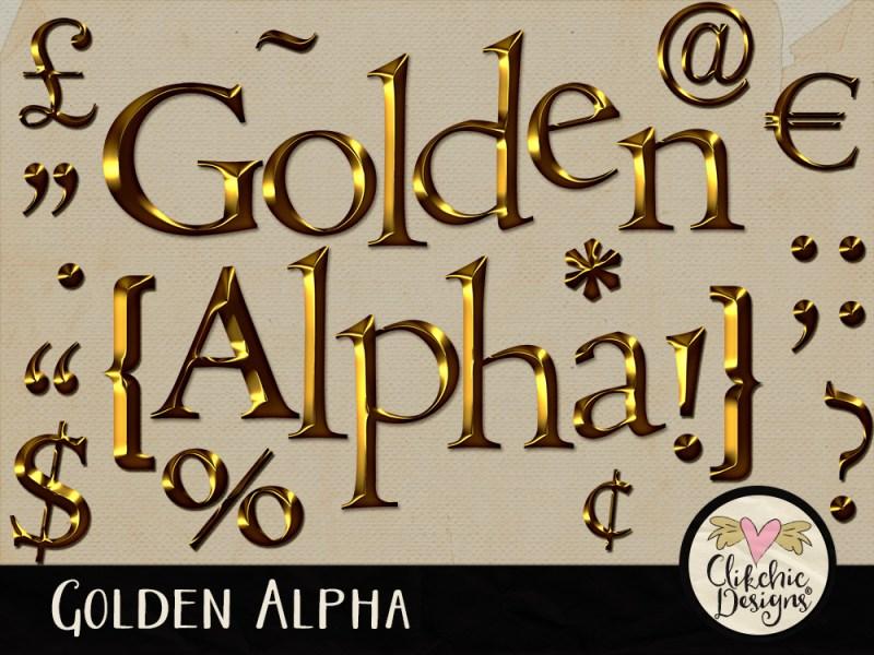 Golden Digital Scrapbook Alpha