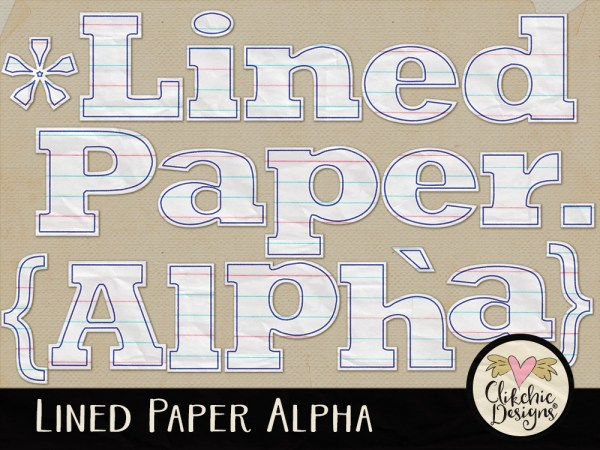 Lined Paper Digital Scrapbook Alpha
