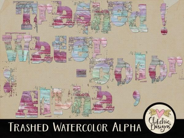 Trashed Watercolor Digital Scrapbook Alpha